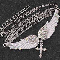Women Biker Necklace Wing Cross Angel Choker Necklace Crystal Antique Jewelry PT