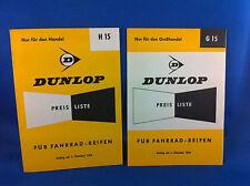 2 Dunlop Preislisten Fahrradreifen H15 G15 1964 Handel Grosshandel ***WIE NEU***