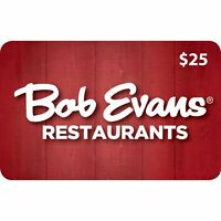 $25 Bob Evans Gift Card - No Expiration Physical Plastic Card - Buy More & Save!