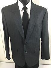 Vtg BESPOKE Men's Charcoal HERRINGBONE TWEED Sport Coat Jacket Wool Blazer 42 S