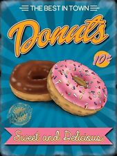 Donuts, 50's American Diner Cafe Kitchen Food Sweet Retro Small Metal Tin Sign
