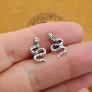 925 Sterling Silver Snake Stud Earrings Plain Pure Silver Jewellery