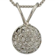 Diamond Pendant Set With 1 Carat Pave Diamonds On 14k White Gold Domed Pendant
