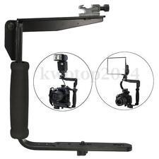 Quick Flip Adjustable Flash Bracket Grip Arm Mount Holder For Nikon Canon DSLR