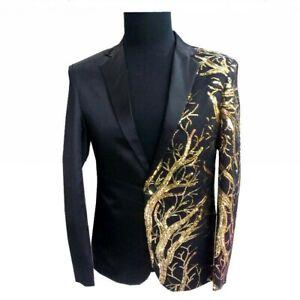 Men Sequin Suit Jacket Chic Lapel Blazer Single Breasted Coat Tops Coo lZhq06