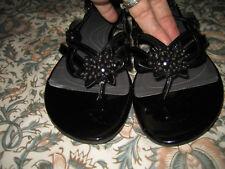 Tahari Black Patent Kelsey Sandal. Beaded Floral Embellishment. 7.5