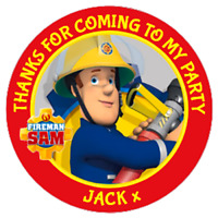 48 Personalised FIREMAN SAM Party Bag Stickers Sweet Bag Seals 40mm Labels
