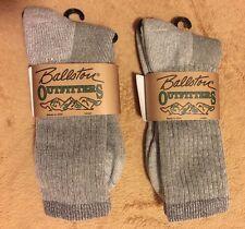 BRAND NEW - Ballston Men/Women Socks 2 Pairs GREY-LARGE-Made in U.S.A. no. 8721