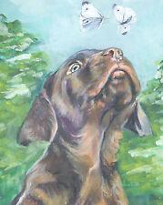 "Labrador Retriever canvas PRINT of LAShepard painting 8x10"" chocolate lab pup"