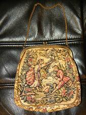 Vintage Petit Tapestry Purse Change Woman & Man Kiss Lock Chain - Xlnt