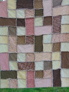 Pink & Brown Rag Quilt / XL Throw Cottage Chic Farmhouse Country