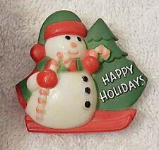 CLASSIC CHRISTMAS PIN BROOCH SNOWMAN FROSTY HAPPY HOLIDAYS WINTER SLEDDING X19F