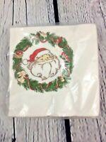 Vtg Christmas Santa Claus Design Paper Beverage Napkins 16 Count Sealed HallMark