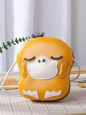 Psyduck Leather shoulder messenger bag Handbag Handmade Anime Gift Cosplay