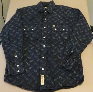 Larry Mahan Men's western white snap long sleeve shirt black white paisley Small