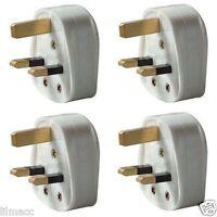 STATUS Pack of 4 Standard UK Fused 13 Amp White Mains 3 Pin Household Plug