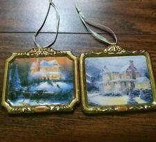 Thomas Kinkade  Victorian II -III Christmas House Ornaments Lot of 2