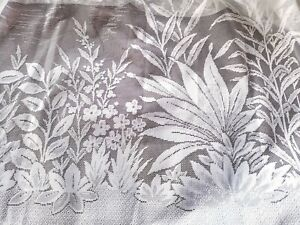 HUGE Net Curtain PICTORIAL Lake and Island SCENE Vtg French White 196 Inch x 96