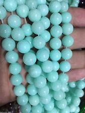 "8mm Blue Brazilian Aquamarine Gems Round Loose Beads 15"""