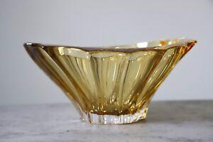 """Crystal Bowl 8 """" Bohemia Amber Vase Czech Glass Fruit Desert Sweets Gift NEW"""