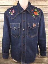 Vintage Embroidered Denim Jean Shirt Jacket Rockabilly Snap Front Western Sz 40