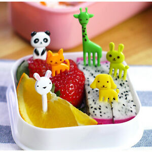 10 Pcs Reusable Cute Animal Fruits Food Forks Lunch Box Accessories Decor ToSA