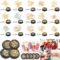Mix Gold Silver 3D Star Moon Rhinestones Rivet DIY Nail Art Stickers Decoration