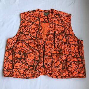 Cabelas Hunter Orange Seclusion Blaze Hunting Vest Size 2XL-Reg Tree Branches