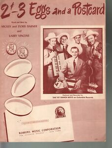 2 Cents Three Eggs and a Post Card 1949 Ranch Boys Sheet Music