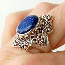 R129 Bague Style Vintage   Argent Massif 925  Lapis Lazuli  t60
