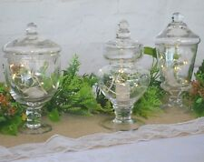 Glass Vases Mini Candy Jars x 3 with Led light Wedding Table Centrepiece Vintage