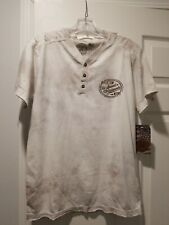Affliction American Custom Motorcycle Shirt SS White Bronze SZ M $48. Henley