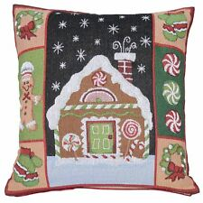 Christmas Cushion Cover Gingerbread House Mittens Candy Wreath 45cm Square