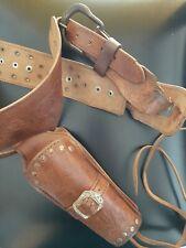 Vecchio cinturone Messicano Western in cuoio fondina per revolver anni 70