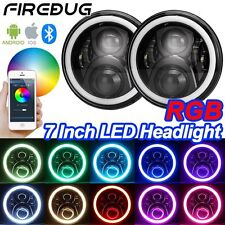 "Firebug 7"" Jeep Wrangler RGB LED Headlights Halo, Bluetooth App Controlled"