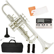 Bb Beginner Trumpet Silver Nickel Plated w/ Tuner, Case & Care Kit Student Band