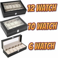 Mens 6 10 12 Grids PU Leather Watch Display Case Collection Storage Holder Box
