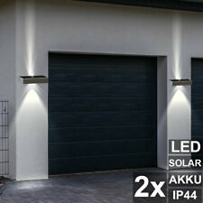 2x LED Solar Wall Lamps UP DOWN Outdoor Facades Stainless Steel Garden Lights