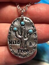 Free Pendant Charm Silver D-768 Native American Cactus Wild &