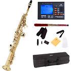 Mendini Straight Bb Soprano Saxophone Sax ~Gold Lacquered +Tuner ~MSS-L