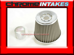 """SILVER UNIVERSAL 3"""" CONICAL AIR FILTER FOR VOLKS/BMW AIR INTAKE+PIPE"""
