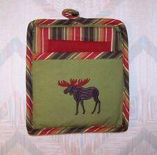 Moose Pocket Mitt Three Piece Set Pot Holder Set Moose Embroidery