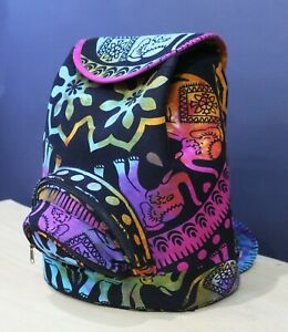 Multi Tie & Dyed Cotton Backpack New Indian Elephant Printed With Shoulder Strap