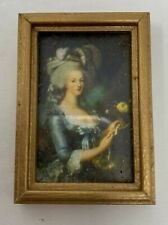 Vintage Dollhouse Miniature Framed Picture Of Lady in Blue Dress Portrait Art