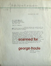 BILLY ROSE - LETTER - AUTOGRAPH - 1944 - FANNY BRICE - FUNNY GIRL - STREISAND