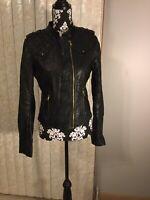 Womens Ci Sono By Cavalini Biker Faux Leather Black Jacket Full Zip Size M/M