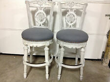 """2 Frontgate Provencal Carved Grape dove gray Barstool BAR stools chair 30"""" blue"""