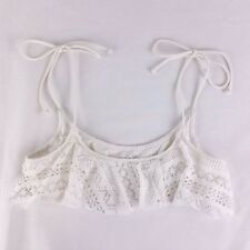 PINK Victorias Secret L White Crochet Lace Overlay Bikini Top Tie Shoulder Strap