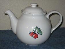 Correlle Coordinates Stoneware White Tea Pot Berries & Cherries Fruit Rare EUC