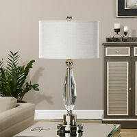 """NEW LARGE 31"""" RICH CUT CRYSTAL TABLE LAMP BRUSHED NICKEL ACCENTS READING LIGHT"""